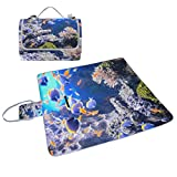 YZGO Blue Marine Fish Picnic Mat Waterproof Beach Blanket Tote Handy Moisture-proof Rug Pads for Travel Camping Hiking Outdoor Activities,58''x56''