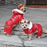 DOGGIE DESIGN Red Ruffin It Dog Snow Suit Harness (Medium)