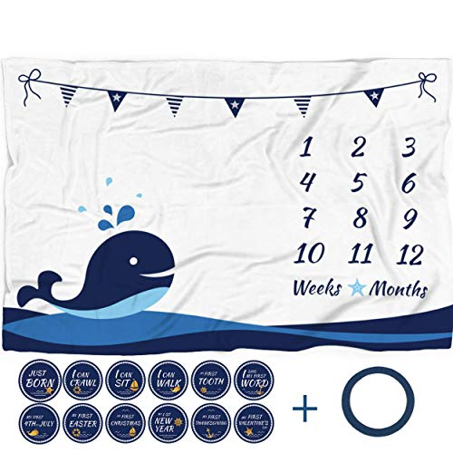 """Baby Monthly Milestone Blanket with 12 Stickers, Large 60""""x40"""" Infant Month Blankets Boy 