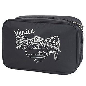 Viajes de tocador Artículos de tocador de maquillaje bolso colgante plegable Wash Caso Negro