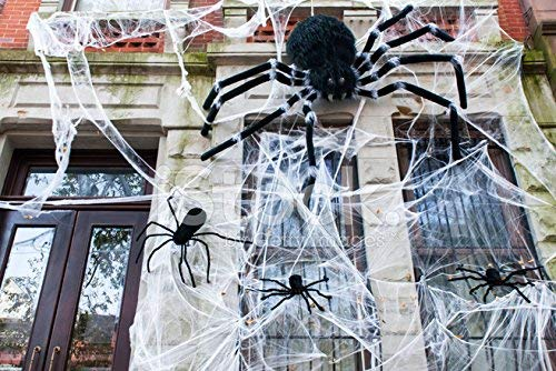 Halloween Decoration Spider Web with Fake Spider for Outdoor Indoor Décor Large Cobwebs Spider Silk House Window Door Garden Bar Costume Spooky Party Favor Mischievous -