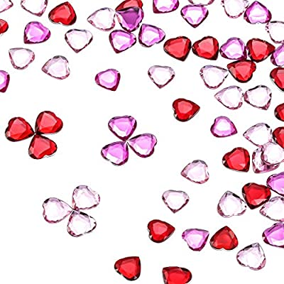Red//Pink Acrylic Heart for Valentines Day Wedding Heart Table Scatter Decoration 0.5 Inch 300 Pieces Flat Back Heart Rhinestones