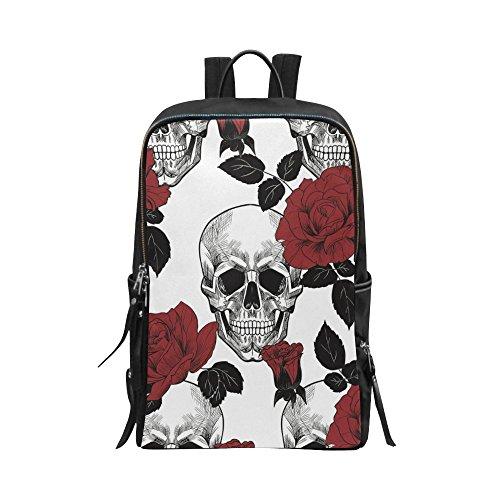 - InterestPrint Unisex School Bag Sugar Skull and Red Roses Casual Backpack Daypack Shoulder 15