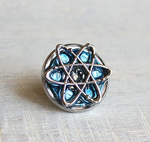 Ice blue atom tie tack. by Nature With You