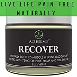 ADHEMP DR. Recommended Organic Hemp Pain Relief Therapy for Arthritis, Back, Knee, Hands, Neck, Feet, Muscle Soreness, Inflammation, Joints- Pure Hemp, 10% Emu Oil, Arnica- 2oz