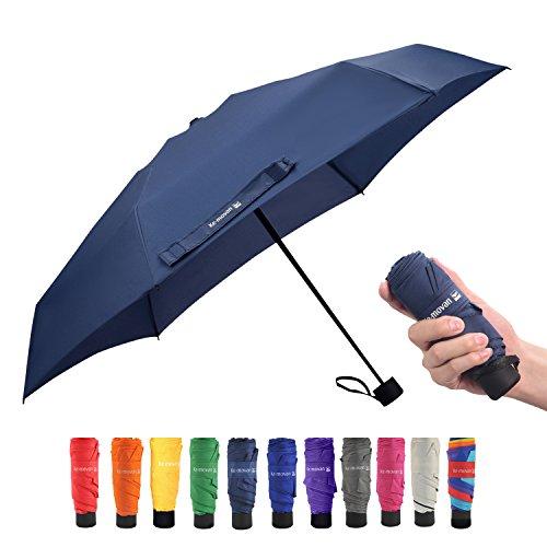 Travel Compact Umbrella Small Mini Umbrella for Backpack, Purse, Pocket - Fits Adults & Kids (Ver.1-Navy Blue)