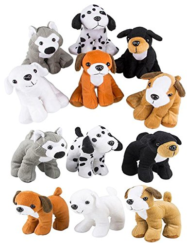 4E's Novelty Stuffed Plush Soft Dogs Animals Puppies Bulk Party Favor, Large Stuffed Animals Assortment, 6 inches, Pack of 12, 2 of Each - Mini Toy Stuffed