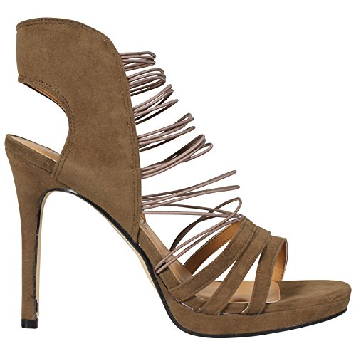 CORE COLLECTION New Womens Ladies Elasticated Strappy Peeptoe HIGH Stiletto Heel Sandals Shoes S Khaki Suede HG9gUDuk