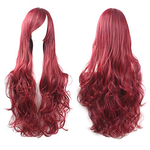 (DEESEE(TM)❧❧18Colors 80CM Cosplay Costume Wigs Women Long Curl Wavy Red Halloween Party Anime Hair)