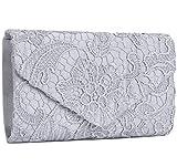 Jubileens Women's Elegant Floral Lace Envelope Clutch Evening Prom Handbag Purse (Silver)