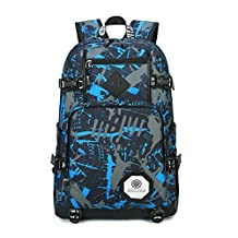 Bcony Polyester Oxford Fabric Blue Camouflage School Backpacks for Teens Girls Boys