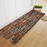 Compia 40*120CM Natural Brick Printing Retangle Polyester Anti-Skid Shaggy Soft Floor Mat Bedroom Kitchen Decoration Area Rug Doormat