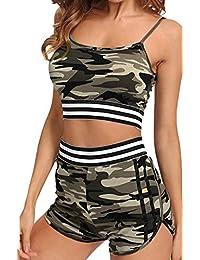 RUEWEY Women Camouflage Spaghetti Straps Crop Top High Waist Short Two Piece Outfits