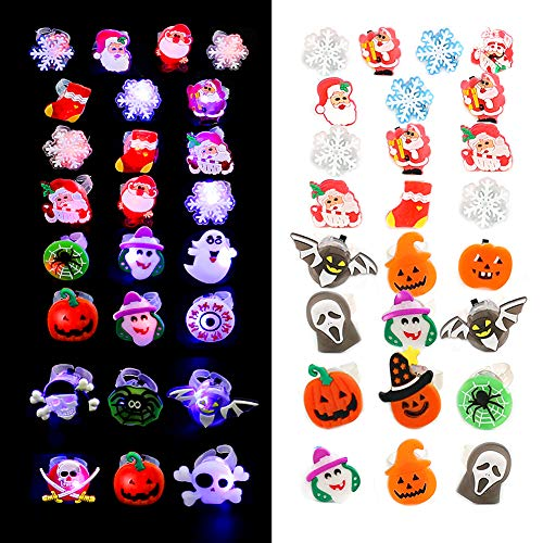 LOVESTOWN 50 Pcs LED Light Up Rings for Kids, 25 Pcs Halloween LED Glow Rings and 25 Pcs Christmas Light Up Rings Halloween Light Up Favors Christmas Party Favors for Halloween Party Christmas Decorations