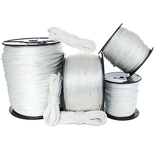 GOLBERG G White Solid Braid Nylon Rope (1/4 Inch, 100 Feet) - Anchor, Tow-Lines, Boating, Mooring, Camping, Pulleys, Blocks, DIY Projects, Outdoors