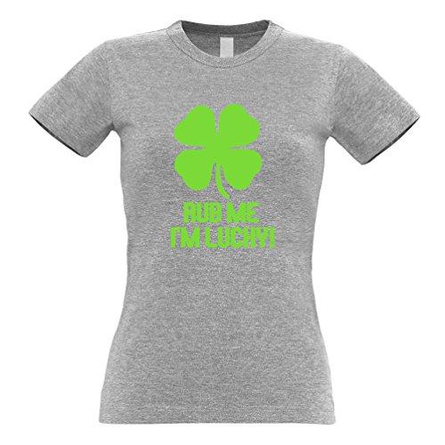 Rub Me Sono fortunato Shamrock fortuna dello slogan Irish Clover divertente T-Shirt Da Donna