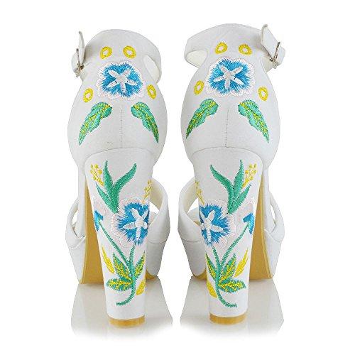 Finto Floreale Alla Donna Scamosciato Sandalo Ricamato Caviglia Essex Cinturino Glam Bianco Piattaforma q8aggT