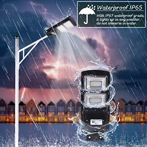 30W/60W/90W Solar Power Street Light IP67 Waterproof - Outdoor Security Light Street Floodlight Yard Light with Light Control + Radar Sensing Intelligent Recognition + Remote Control (Black, 90W) ()