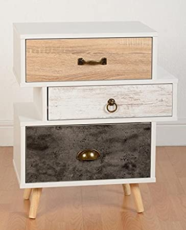 Nordica 3 Drawer Bedside Chest in White & Distressed Effect from Modern Living