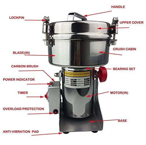 1000g High Speed Electric Herb Grain Grinder Cereal Mill Flour Powder Machine by YJINGRUI (Image #1)