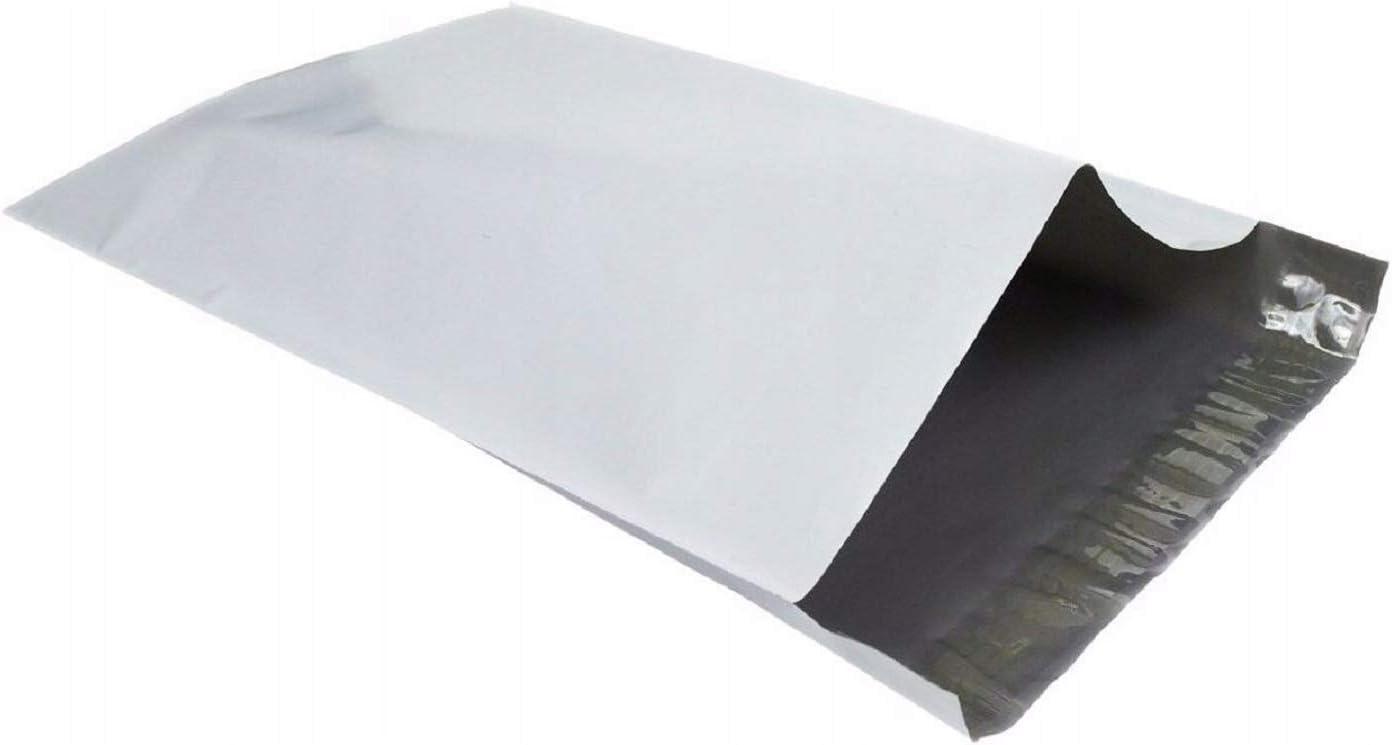 100 bolsas de plástico para envíos postales de polietileno de color blanco, 430 x 600 mm, 43 x 60 cm