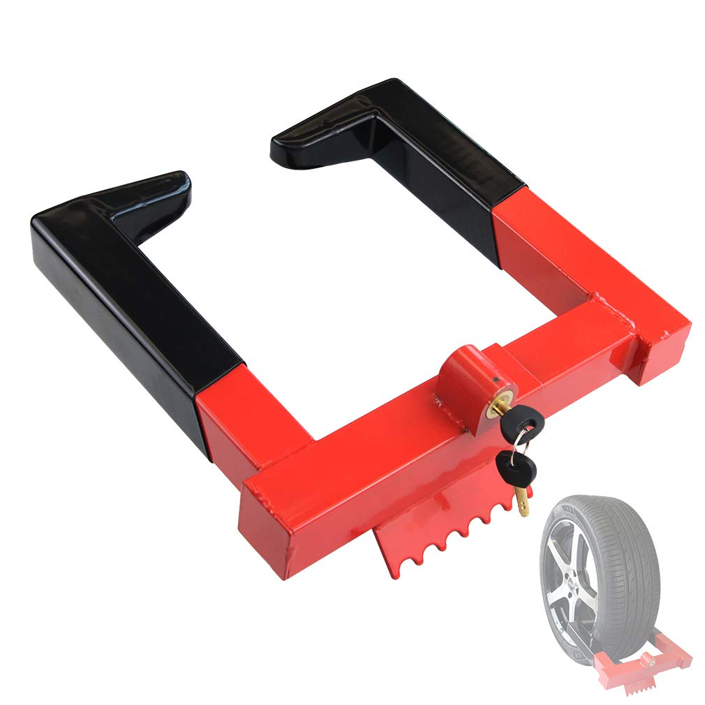 OKLEAD Trailer Wheel Locks clamp - Tire Lock Anti Theft Wheel Boot tire Claw Security Boots for ATV Trailers Black/Red 2 Keys by OKLEAD