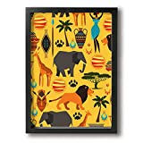 CARRYFUTURE Painting Photo Black Picture Frame Africa Zoo Animals Prints Home Decoration Wall Mounting GLASS FRONT COVER Easy To Hang Wall Paintings Black