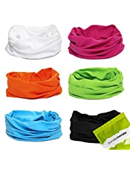 BMC 6pk Solid Colored Multifunctional Seamless Head Bandanna Neckwear Scarf Wrap