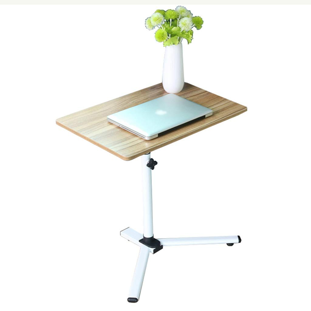ZDNALS 60×40 cm Bedside Table,Foldable Computer Table Adjustable Portable Laptop Desk Rotate Laptop Bed Table Can Be Lifted Standing Desk Bedside Table (Color : Ancient Oak Color)