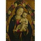 Canvas Prints Of Oil Painting 'Italian Umbrian Or Roman The Virgin And Child In A Mandorla With Cherubim' 8 x 11 inch / 20 x 29 cm , Polyster Canvas Is For Gifts And Bar, Bed Room And Garag decoration
