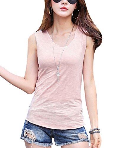Gladiolus Las Mujeres Camisetas sin mangas De Las Tapas De Cuello Redondo De Color Solido De La Camisa Blusa Pink