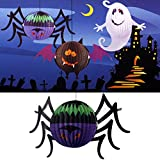 Halloween Amusing Glowing Spider Paper Lantern with LED Candle Yard Decor - Garden Landscaping & Decking - Holiday Decorations