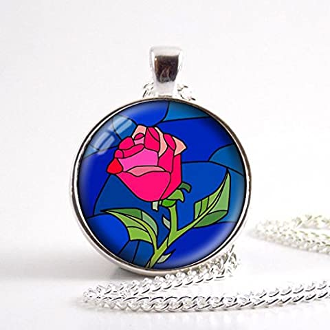 Beauty and the beast Necklace, Rose Pendant, Glass Round Jewelry (Beast Jewelry)