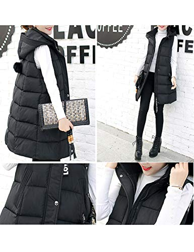 Cotton Vest Capispalla Warm Hooded Casual Ladies Zipper Nera Giacca Fit Winter Solid Slim Besbomig Windproof Overcoat zqgw1Pq4