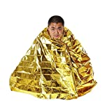 Emergency Survival Blanket, Aolvo Portable Outdoor Survival Gold Foil Blanket, Insulation and Sun Protection, Reflective Design Perfect for Outdoor Camping, Hiking, Survival, Survivalist Or First Aid