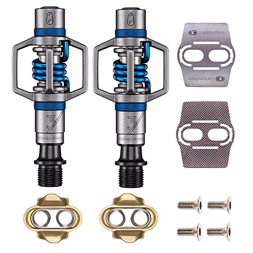 (CRANKBROTHERs Eggbeater 3 Pedals with Premium Cleats and Bike Shoe Shields Set … (Blue))