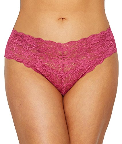 Lowrider Thongs Microfiber - Cosabella Women's Plus Size Say Never Extended Cutie Lowrider Thong, Plum Blossom, 1X