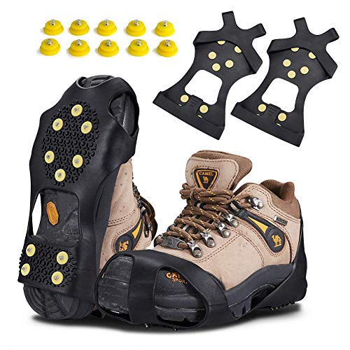 KUYOU Traction Ice Cleats, Snow Grips Ice Traction Over Shoe or Boot Rubber Anti Slip Tread Footwear Spikes with 10 Steel Studs Crampons for Walking, Fishing, Jogging Hiking, Extra 10 Studs (Large)