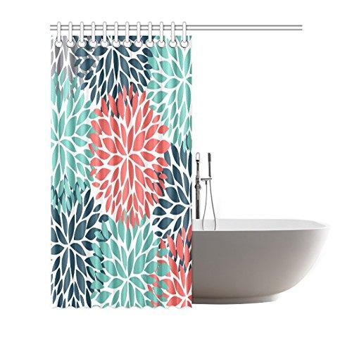 InterestPrint Dahlia Pinnata Flower Teal Coral Gray Decor Waterproof Polyester Bathroom Shower Curtain Bath Decorations with Hooks, 66 x 72 Inches