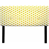 Sole Designs Ali Collection Padded Headboard Panel Hardwood Frame and 8 Button Tufted, Full Sized Cotton Upholstered Adjustable Headboard 56 L x 26 H x 2 D, JoJo Series with Yellow Finish