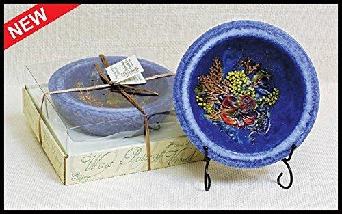 "Habersham Candle Co 7"" Wax Pottery Bowl Indigo Amber With..."