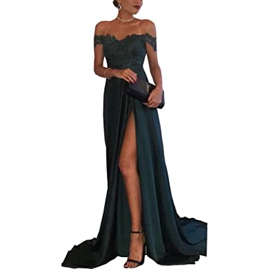 616ff12a84b Dexinyuan Women s Off Shoulder Lace Side Split Prom Dress Long Slim Evening  Party Gown Dark Green
