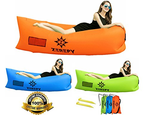 Zerepy Inflatable Lounger with Carry bag and Securing Stake for Traveling, Camping, Hiking, Pool, Beach, Park; Use Indoor or Outdoor as Lounge Chair, Air Sofa Bag, Air Hammock, Bed, Couch (Orange)