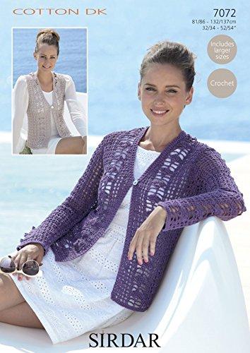 9c8955766865 Sirdar Cotton DK Ladies Cardigan   Waistcoat Crochet Pattern 7072  Amazon.co .uk  Kitchen   Home