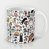Kawaii Ghibli Doodle Ceramic Coffee Mug Printed Mug Funny C Handle Cup 11 Oz. Mug
