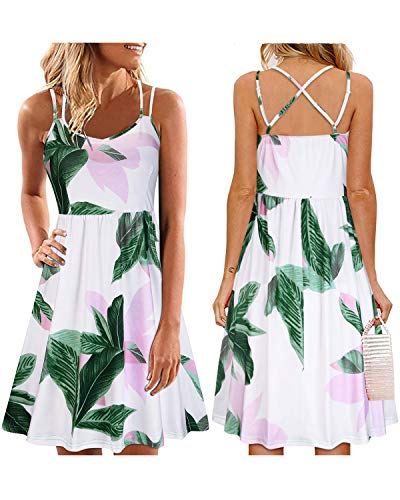 ULTRANICE Women's Summer Floral Sleeveless Adjustable Spaghetti Backless Short Dress(Floral09,XL) (Spaghetti Strap Knit Dress)