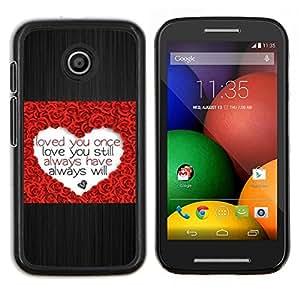 LECELL--Funda protectora / Cubierta / Piel For Motorola Moto E -- Corazón del amor Rose cepillado de San Valentín del metal --