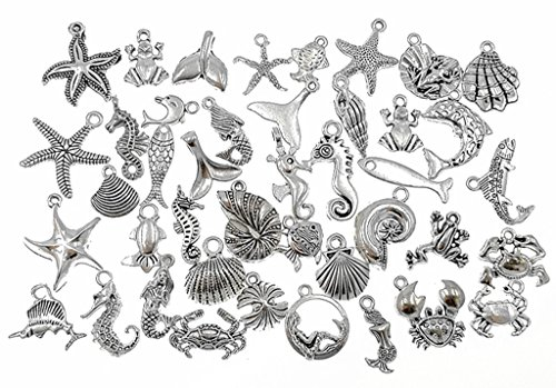 Kinteshun Marine Creatures Fishes Shells Charm Pendant Connector for DIY Jewelry Making Accessaries(40pcs,Antique Silver) -