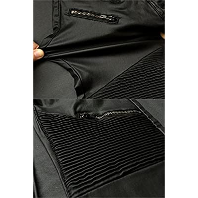 PU Leather Denim Pants for Women Sexy Tight Stretchy Rider Leggings Black Coffee at Women's Clothing store
