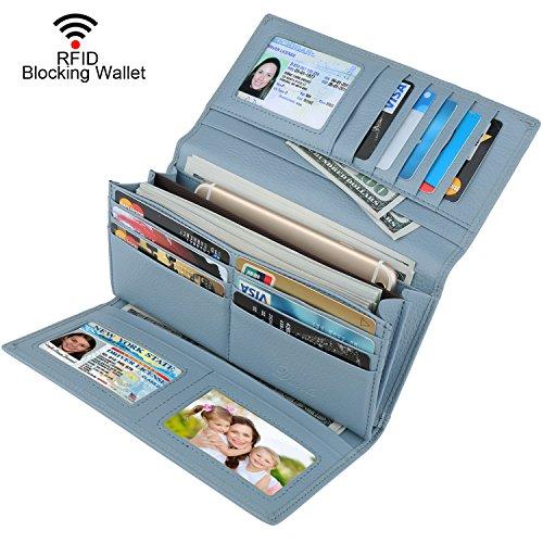 Blue Wallet Womens (Dante Women RFID Blocking Real Leather Trifold Wallet - Clutch Checkbook Wallet for Women(Light Blue))